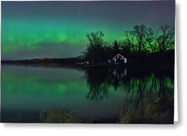 Greeting Card featuring the photograph Northern Lights At Gull Lake by Susan Rissi Tregoning