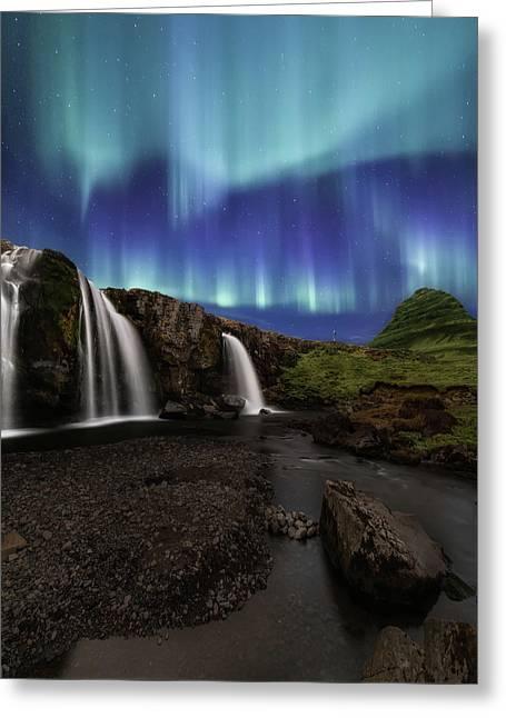 Northern Lights At Kirkjufellsfoss Waterfalls Iceland Greeting Card