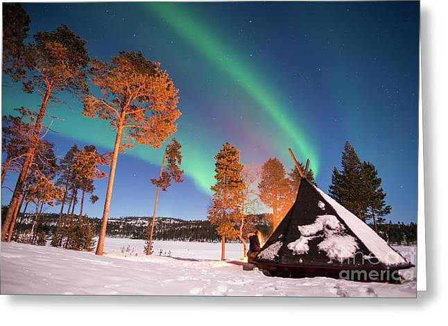 Greeting Card featuring the photograph Northern Lights By The Lake by Delphimages Photo Creations