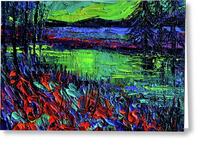 Northern Lights Embracing Poppies Greeting Card