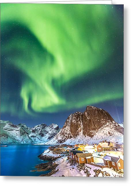 Northern Lights In Hamnoy Greeting Card by Alex Conu