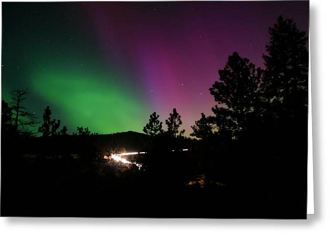 Northern Lights Over Storm Mountain Greeting Card