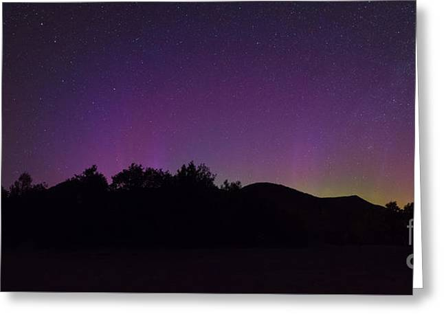 Little Dipper Greeting Cards - Northern Lights Panorama at the Adirondack Mountains Greeting Card by Michael Ver Sprill