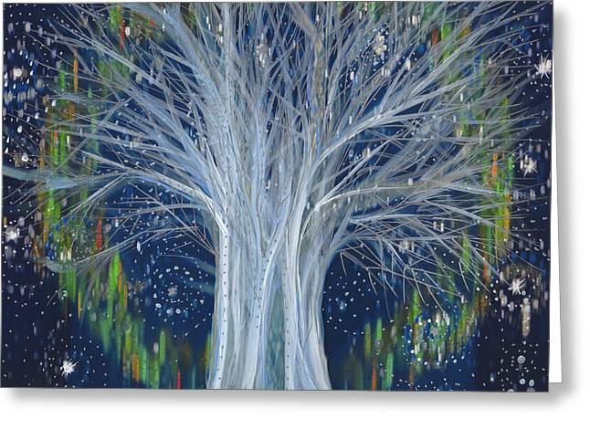 Northern Lights Tree By Jrr Greeting Card