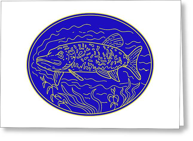 Northern Pike Fish Oval Mono Line Greeting Card