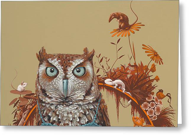 Northern Screech Owl Greeting Card by Jasper Oostland