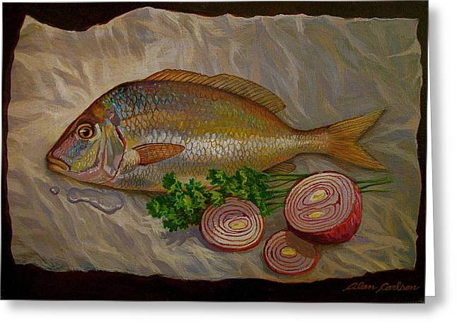 Northern Scup With Dill Onion Greeting Card by Alan Carlson