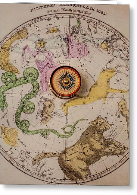 Northern Star Map And Compass Greeting Card by Garry Gay