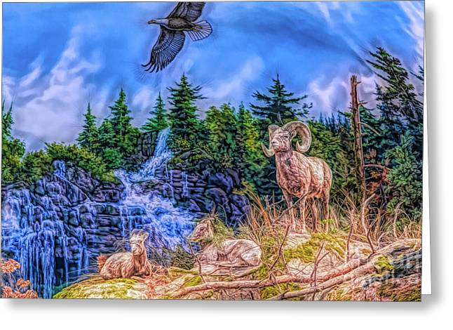 Greeting Card featuring the digital art Northern Wilderness by Ray Shiu