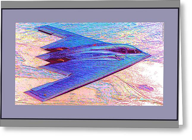 Northrop Grumman B-2 Spirit Stealth Bomber Enhanced With More Color And Double Border Greeting Card by L Brown