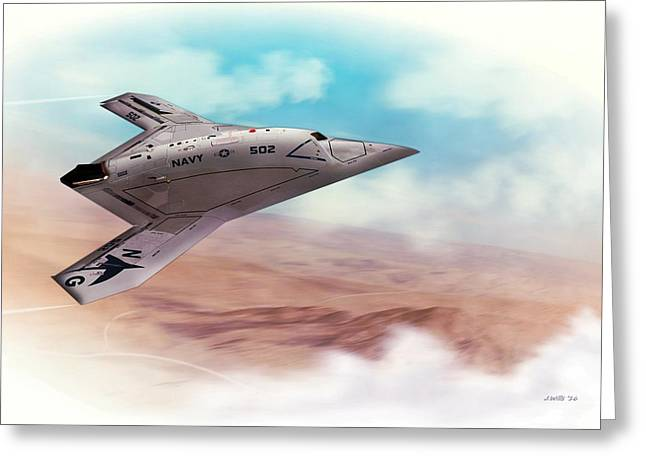 Northrop Grumman X47b Drone Greeting Card by John Wills
