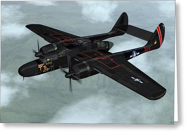 Black Widow Greeting Cards - Northrop P-61 Black Widow Greeting Card by Walter Colvin
