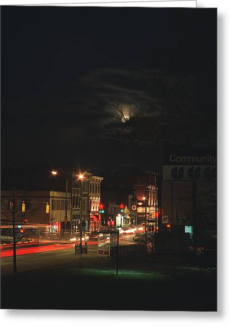 Moonlit Night Greeting Cards - Northside At Night Greeting Card by Jonathan Michael Bowman