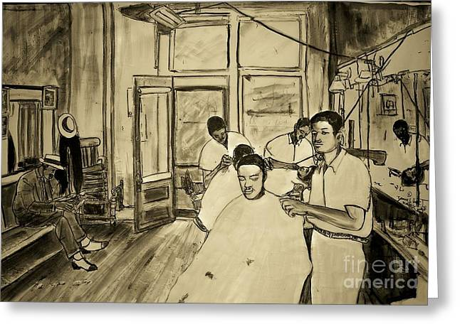 Northside Barber Shop Greeting Card by Tyrone Hart