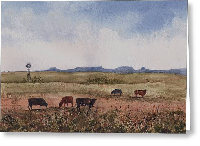Greeting Card featuring the painting Northwest Oklahoma Cattle Country by Sam Sidders