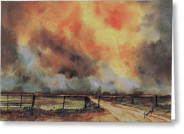 Greeting Card featuring the painting Northwest Oklahoma Wildfire by Sam Sidders