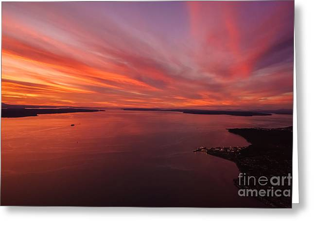 Northwest Searing Sunset Palette Greeting Card by Mike Reid