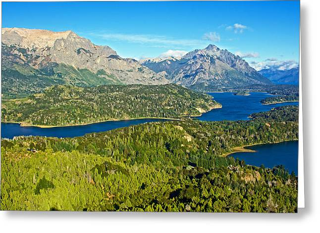 Greeting Card featuring the photograph Northwest View From Campanario Hill Near Bariloche-argentina   by Ruth Hager