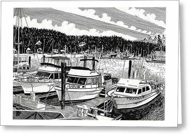 Puget Sound Drawings Greeting Cards - Northwest Yachting Gig Harbor Greeting Card by Jack Pumphrey