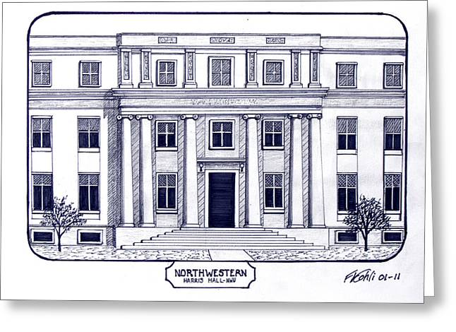 Famous University Buildings Drawings Greeting Cards - Northwestern Greeting Card by Frederic Kohli