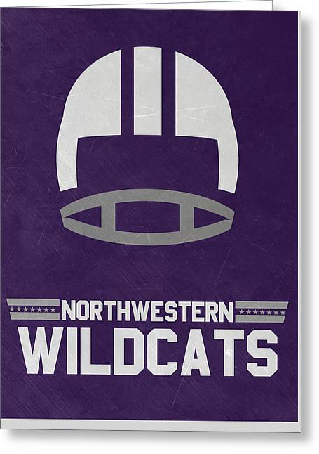 Northwestern Wildcats Vintage Football Art Greeting Card by Joe Hamilton