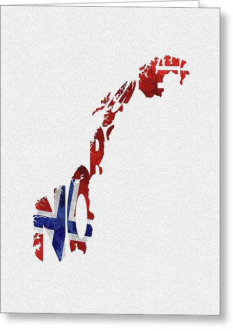 Norway Typographic Map Flag Greeting Card