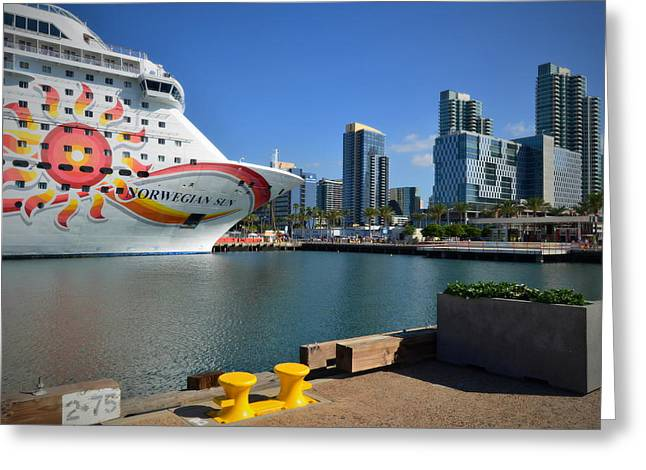 Norwegian Sun- Port Of San Diego Greeting Card by See My  Photos