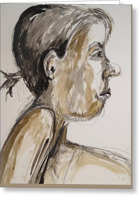 Greeting Card featuring the painting Nose Job Nose by Esther Newman-Cohen