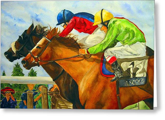 Race Horse Greeting Cards - Nose to Nose Greeting Card by Jean Blackmer