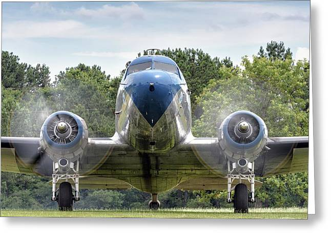Nose To Nose With A Dc-3 Greeting Card
