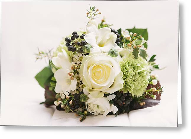 Nosegay Bouquet With White Rose Greeting Card by Matthias Hauser