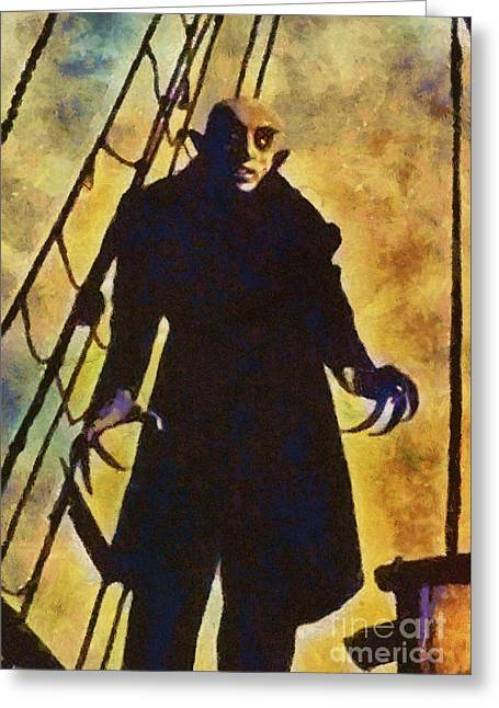Nosferatu, Classic Vintage Horror Greeting Card by Mary Bassett
