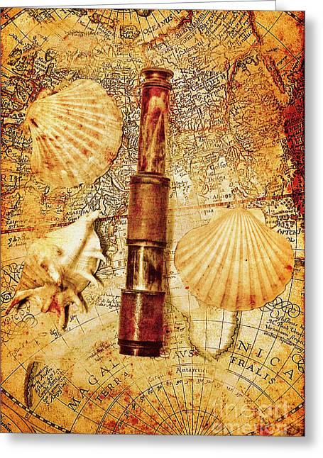 Nostalgia In A Nautical Ocean Adventure Greeting Card
