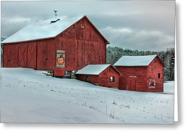Nostalgic Berkshire Barns Greeting Card by Thomas Schoeller