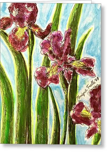 Nostalgic Irises Greeting Card