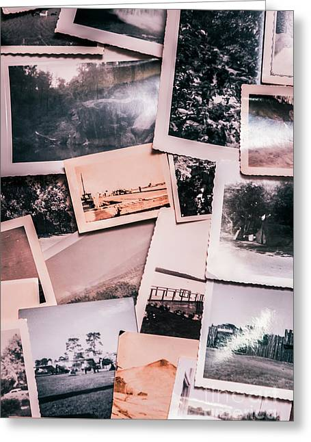 Nostalgic Photo Print Background Of A Collection Of Old Faded Sc Greeting Card