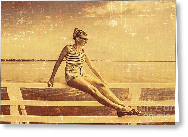 Nostalgic Pier Pinup Girl Greeting Card by Jorgo Photography - Wall Art Gallery