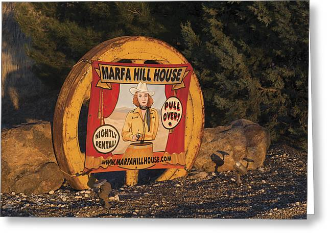 Nostalgic Sign Announcing The Marfa Hill House In Marfa Greeting Card by Carol M Highsmith