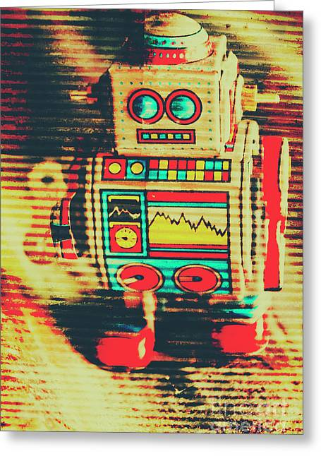Nostalgic Tin Sign Robot Greeting Card by Jorgo Photography - Wall Art Gallery