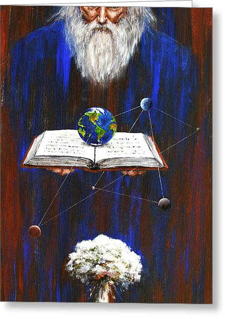 Greeting Card featuring the painting Nostradamus by Arturas Slapsys