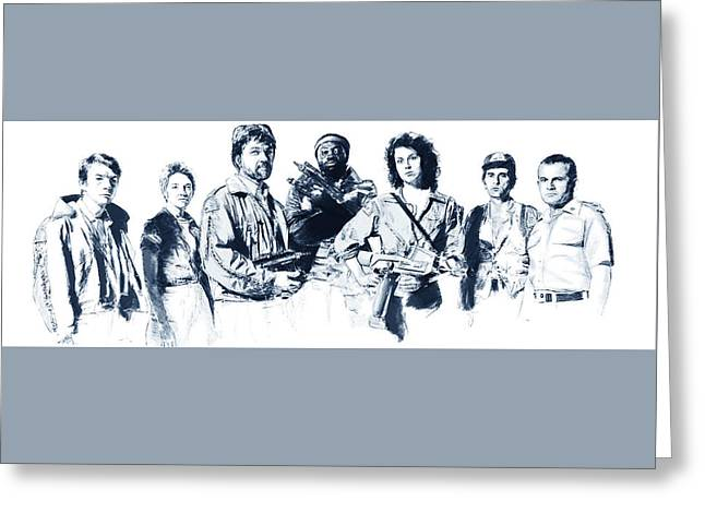 Nostromo Crew Greeting Card by Kurt Ramschissel