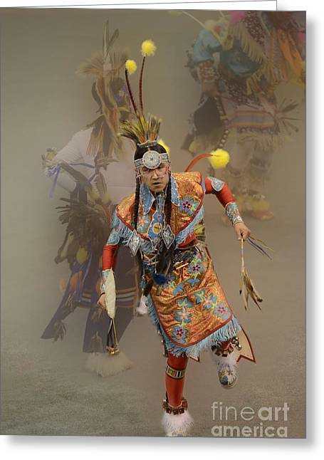 Pow Wow Not Alone Greeting Card by Bob Christopher