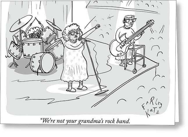 Not Your Grandmas Rock Band Greeting Card