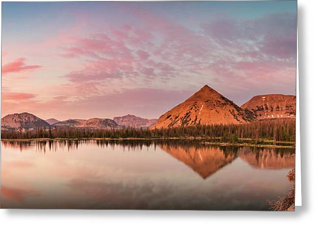 Notch Lake Panorama Greeting Card by Johnny Adolphson