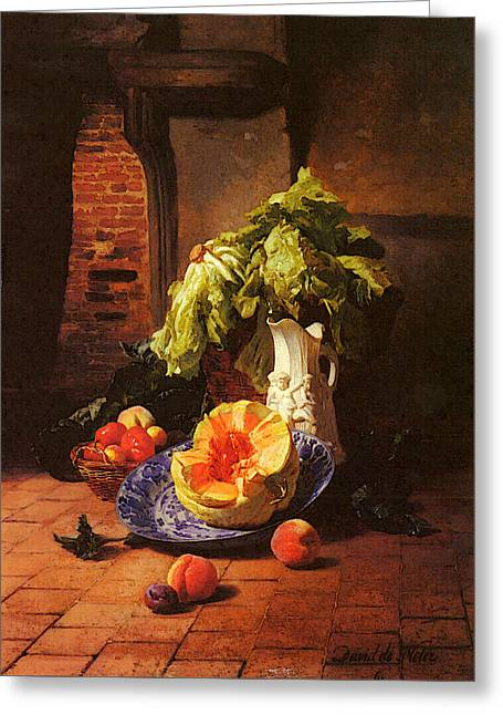 Noter David Emil Joseph De A Still Life With A White Porcelain Pitcher Fruit And Vegetables Greeting Card