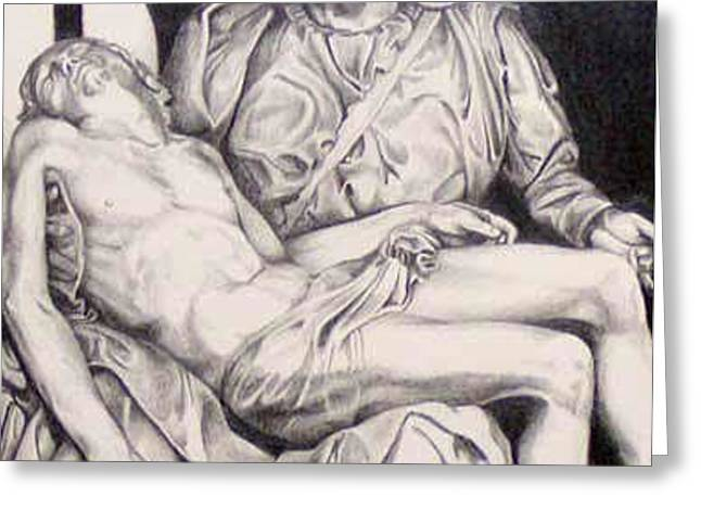 Nothing Can Be Added - Close Up Pieta Greeting Card by Amy S Turner
