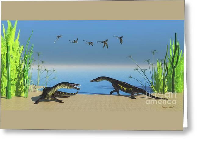 Nothosaurus Reptile Beach Greeting Card