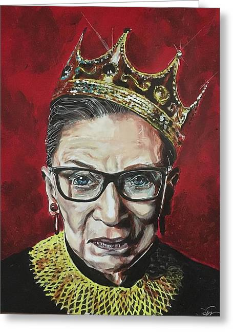 Greeting Card featuring the painting Notorious Rbg by Joel Tesch