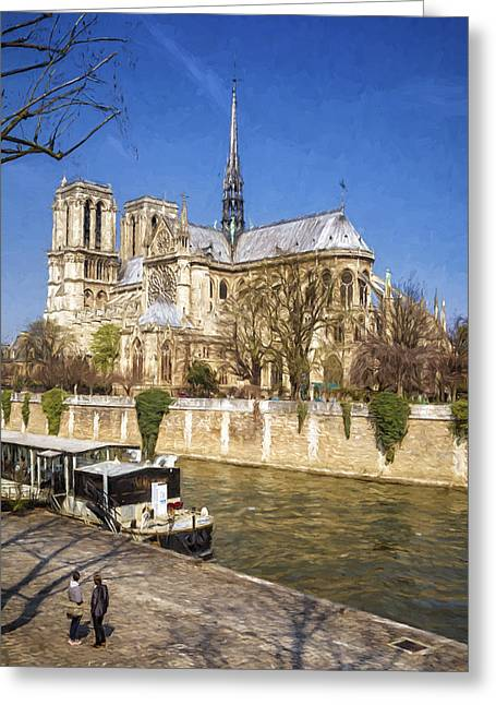 Notre Dame And The Seine Painterly Greeting Card by Joan Carroll