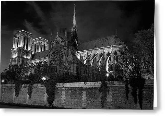 Greeting Card featuring the photograph Notre Dame By Night, Paris, France by Richard Goodrich